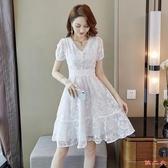 洋裝 夏日柔情溫柔小眾設計感襯衫刺繡V領可開扣設連身裙