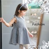 肩蝶結綁帶黑白格紋洋裝(250170)★水娃娃時尚童裝★
