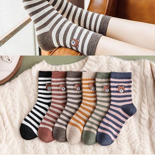 小熊刺繡配條襪子 H516 獨具衣格