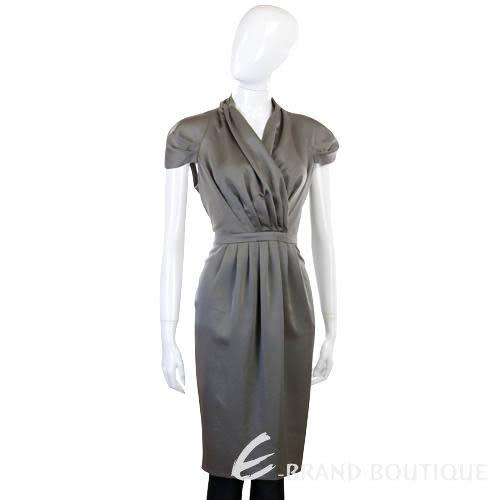 MOSCHINO 銀灰色抓折短袖洋裝洋裝 0930050-06