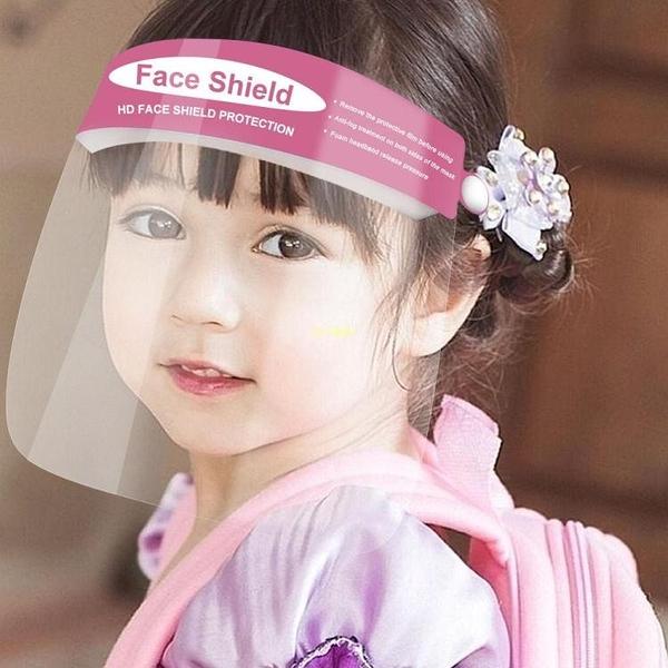 5個裝 頭戴式防護面罩 兒童防疫防飛沫飛濺面屏 透明PET雙面防霧 快速出貨