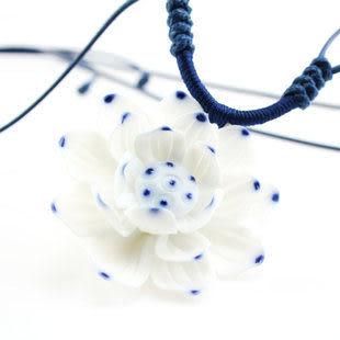 手繪瓷花 夏日青蓮 陶瓷項鏈