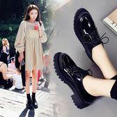 布洛克鞋 布洛克女鞋厚底英倫小皮鞋女黑色2018新款百搭韓版學生粗跟單鞋女 珍妮寶貝