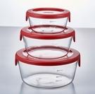 金時代書香咖啡 HARIO 圓形紅色玻璃收納盒 3件組 SYTN-2518-R