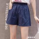 短褲女夏寬鬆韓版跑步運動高腰休閒褲大碼純棉外穿學生熱褲五分褲『潮流世家』