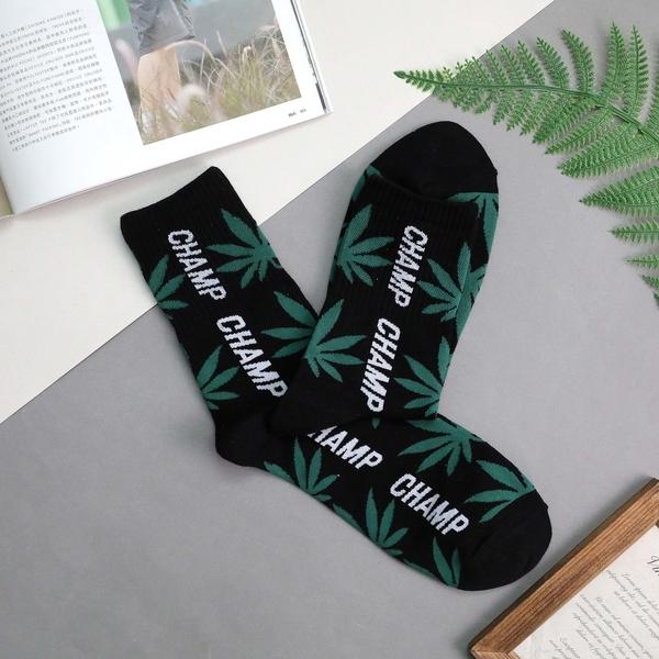 【正韓直送】韓國襪子 CHAMP大麻葉加大男性中筒襪 男襪 長襪 流行襪 禮物 型男必備 哈囉喬伊 M17