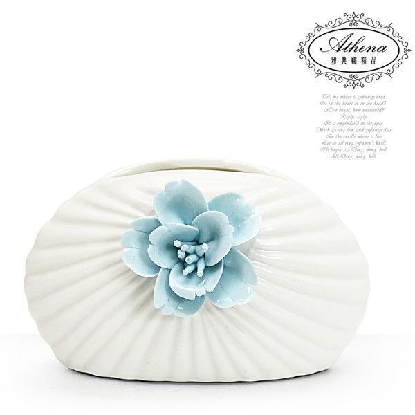 【雅典娜家飾】水藍花貝殼紋小型陶瓷花器-FB358