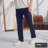 【JEEP】鬆緊織帶造型口袋工作褲(深藍)