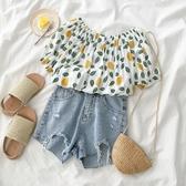 洋氣一字肩襯衣夏2019新款女韓版超仙小眾設計感短袖心機襯衫上衣
