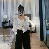 設計感短款長袖襯衫高級藝術感不規則帥氣小外套襯衣女【毒家貨源】