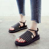 涼鞋一字扣涼鞋女夏新款韓版百搭平底鞋子女學生港味厚底羅馬鞋女