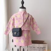 女童洋裝裙1-4-5歲韓版淑女毛衣套裝兒童春秋愛心針織衫兩件套【小獅子】