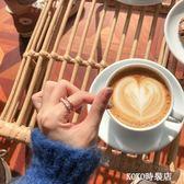 日韓雙層寬面鏤空戒指女簡約百搭學生潮人鋯石戒指食指環飾品J160 KOKO時裝店