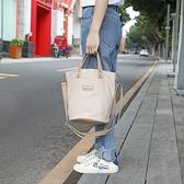 帆布手提包-純色厚實肩背水桶包女側背包6色73xb29【巴黎精品】