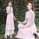 兩件套漢服女款復古文藝立領旗袍繡花連身裙 百搭蕾絲闊腿褲潮套 父親節降價