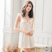 情趣睡衣 性感睡衣 內衣 ★大尺碼Annabery純白柔緞蕾絲荷葉邊性感睡衣★奶白色┌NY14020063-2