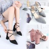 2018韓版夏季新款尖頭黑色高跟鞋中跟羅馬粗跟綁帶女士百搭單鞋夏 時尚潮流