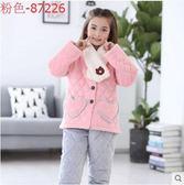 熊孩子🍀兒童睡衣女童加厚款三層夾棉寶寶冬季保暖套裝(主图款5)粉色-87226