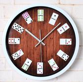 立體麻將掛鐘時尚創意牆面時鐘錶(白色框)