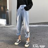 牛仔長褲-秋季韓版2021新款高腰顯瘦破洞小個子老爹褲百搭牛仔長褲女裝褲子