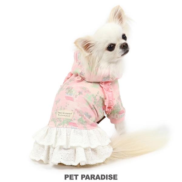 【PET PARADISE 寵物精品】PP 碎花連帽蕾絲洋裝/2色 粉色 (3S/DSS/SS/DS/S) 寵物用品 寵物衣服