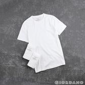 【GIORDANO】男裝簡約素色純棉圓領短袖T恤(三件裝)- 21 標誌白