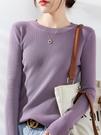 羊毛衫 秋冬圓領毛衣女修身套頭針織衫非羊絨內搭長袖打底衫大碼 芊墨左岸