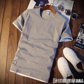 短袖T恤 夏季男士短袖T恤圓領純色體恤打底衫韓版修身半袖上衣服潮男裝薄 印象家品