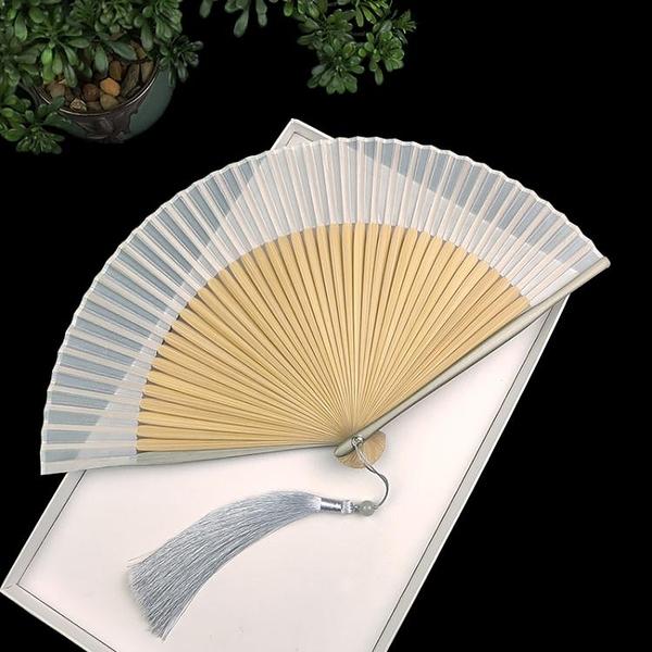 純色真絲扇子折扇中國風灰色烤漆邊竹扇和風夏季日用素面折疊扇子 一木良品