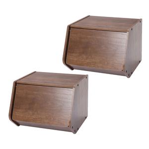 (組)日本IRIS木質可掀門堆疊櫃W40-深木色(二入)