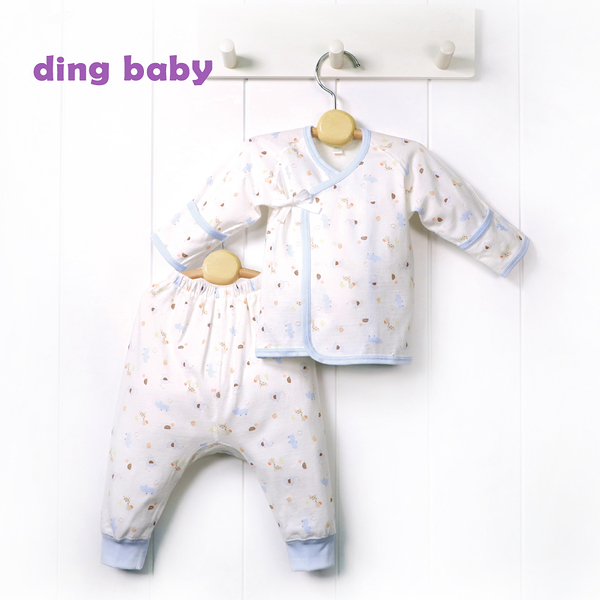 ding baby 繽紛樂園反摺初生肚衣套裝-藍色 (50-60cm) C-180120-B0