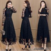 女裝修身氣質顯瘦長款網紗黑色襯衫連身裙