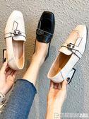 樂福鞋女2019春季新款一腳蹬懶人女鞋金屬扣小皮鞋低跟兩穿單鞋潮  印象家品