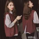 內襯衫春裝新款韓版長袖條紋襯衫毛衣套裝女寬鬆學生襯衣馬甲兩件套春季特賣