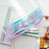 日韓原宿鐳射透明簡約女生流蘇收納大容量學生文具袋 DA3623『毛菇小象』