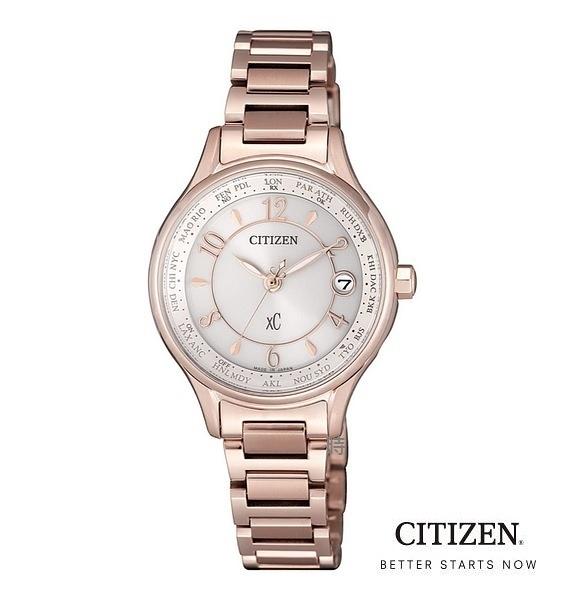 CITIZEN/星辰 光動能 電波錶 鈦金屬 玫瑰金女錶(EC1162-59A) 白/28mm