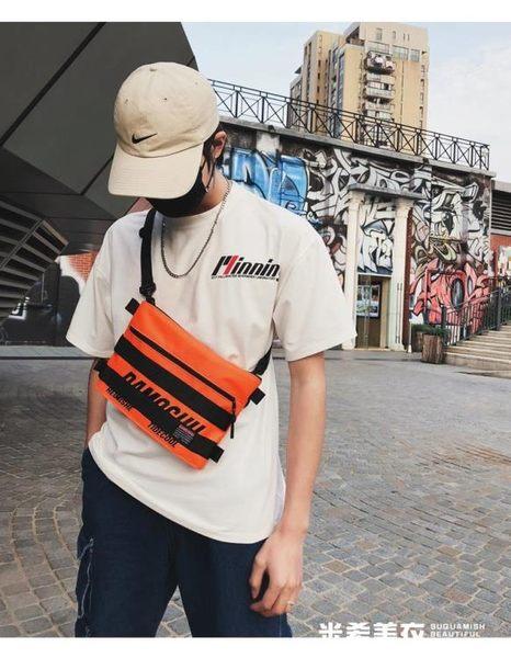 潮牌男士包單肩斜背包韓版嘻哈蹦迪街頭潮流多功能斜跨小背包 米希美衣
