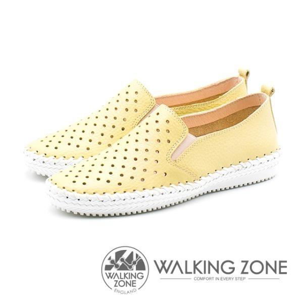 【南紡購物中心】WALKING ZONE 透氣洞洞 樂福懶人便鞋 女鞋-檸檬黃(另有藍莓藍)