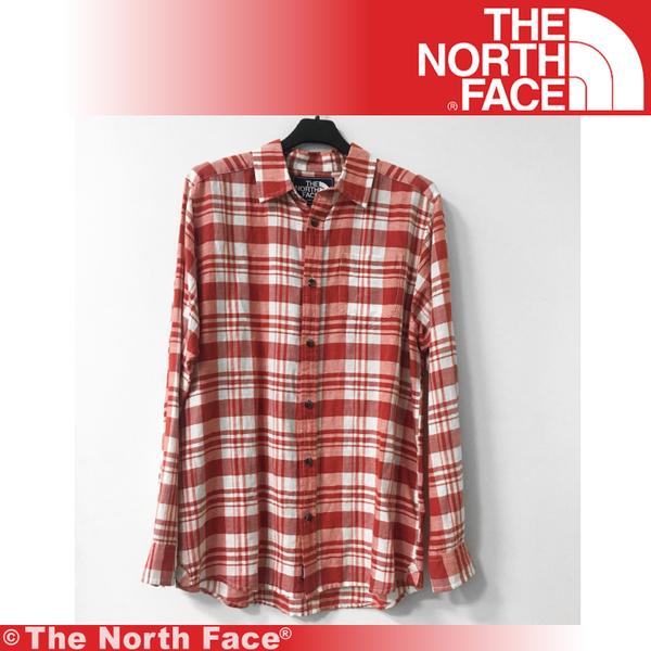 【The North Face 男 長袖襯衫《橘紅》】A3CA-649/休閒/旅遊/上衣/襯衫★滿額送