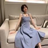 春裝新款韓版一字肩吊帶洋裝女收腰顯瘦氣質小個子中長裙潮 錢夫人