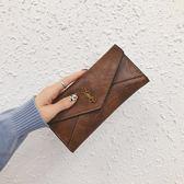 新款韓版潮女士錢包女長款三摺疊多功能搭扣多卡位手拿手抓包 享購