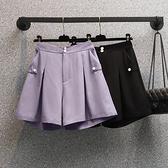 大尺碼休閒闊腿褲L-4XL夏季大碼短褲女寬鬆西裝休閒闊腿褲女高腰顯瘦R26-6810.胖胖唯依