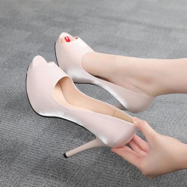 蕾絲鞋 10cm魚嘴高跟鞋細跟防水臺2021夏季新款性感百搭蕾絲小碼少女單鞋 格蘭小鋪