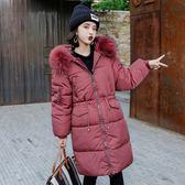 大韓訂製冬季保暖中長款棉衣女韓版收腰過膝大毛領加厚羽絨棉服