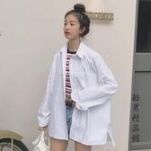 夏季新款女裝簡約寬鬆百搭襯衫中長款長袖白色襯衣韓版氣質上衣潮