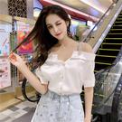 VK精品服飾 韓國風露肩ins露鎖骨短袖...