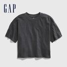 Gap女童棉質純色圓領短袖T恤577862-溫和黑色