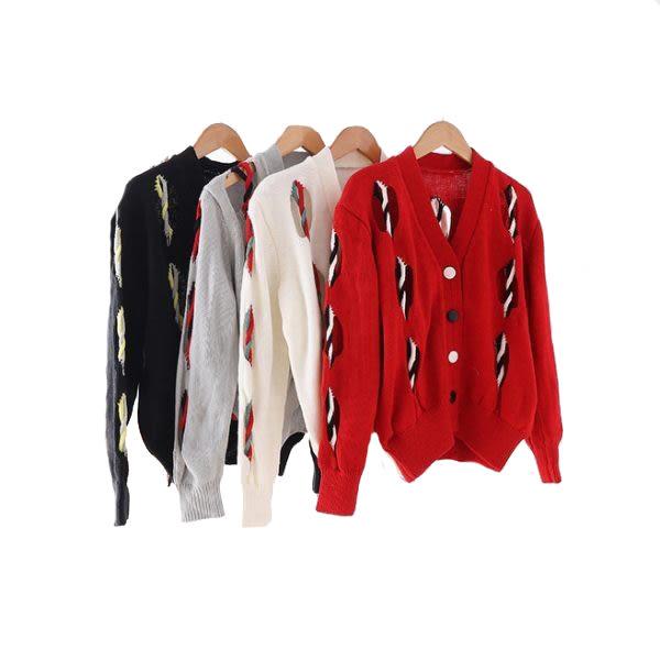 彩色扭紗鏤空毛衣長袖短版外套 (湖綠  米白  紅  黑)