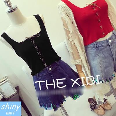 【V1023】shiny藍格子-時尚獨特.綁帶交叉無袖針織短版背心