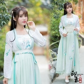 兩件套漢服傳統漢服女繡花齊腰襦裙漢元素短齊胸表演服套民族風長裙 降價兩天